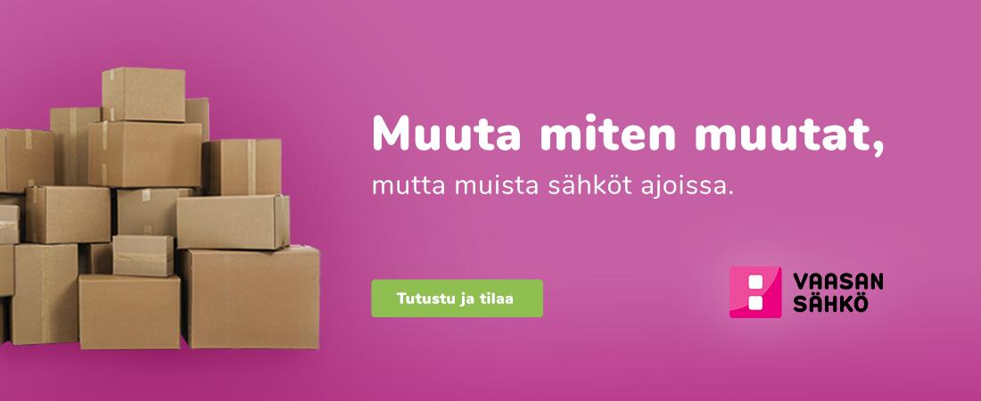 """Muuttolaatikot pinkillä taustalla tekstin """"Muuta miten muutat, mutta muista sähköt ajoissa"""" tekstillä."""