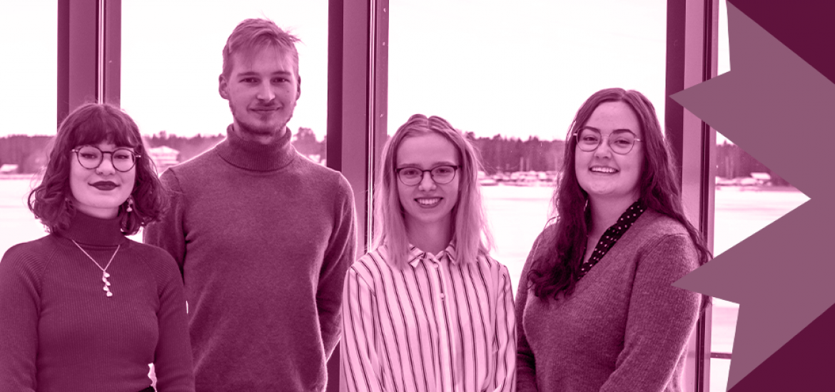 Advocacy sector's Wiktoria, Elmo, Vilja and Roosa smiling in front of a view of the sea.