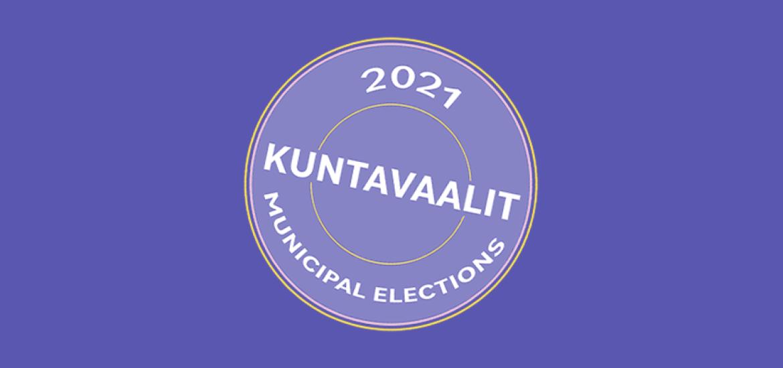 Kuvituskuva vuoden 2021 kuntavaaleista sinisellä taustalla