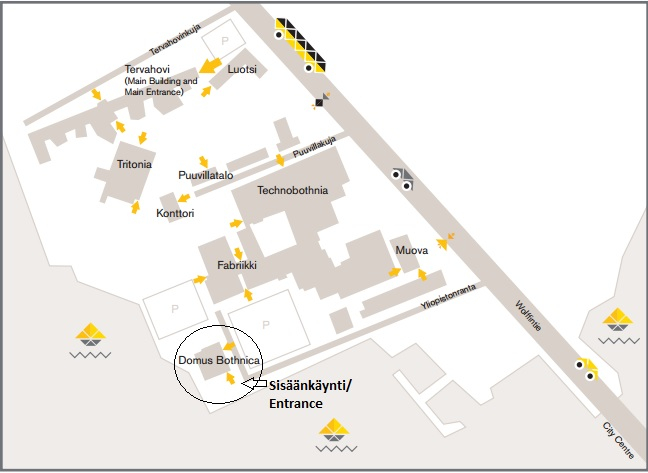 Map of the University of Vaasa's campus